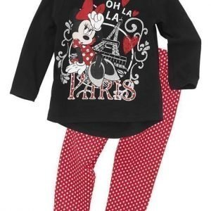 Disney Minnie Mouse Pyjama Musta Punainen