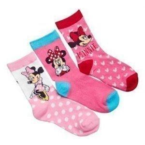 Disney Minnie Mouse Sukat 3-Pakkaus Eri värejä