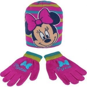 Disney Minnie Mouse Talvisetti Myssy + Sormikkaat