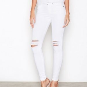 Dr Denim Lexy Black Ripped Knees Skinny Farkut White