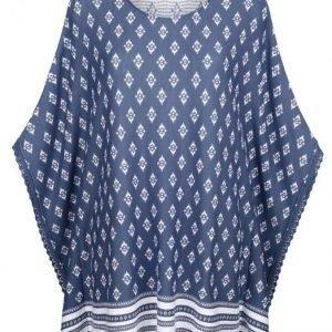 Dress In Poncho Farkunsininen / Valkoinen