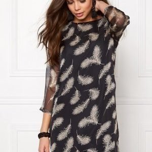 Dry Lake Black Elf Dress Black Feather Print