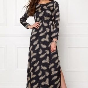 Dry Lake Black Elf Long Dress Black Feather Print