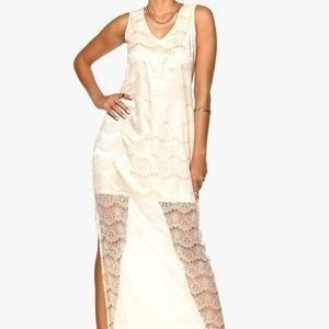 Dry Lake Olivia Long Lace Dress Off White Lace