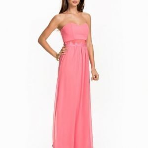 Elise Ryan Lace Trim Bandeau Maxi Dress