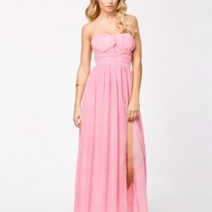 Elise Ryan Maxi Strapless Chiffon Dress Pale Pink