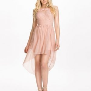 Elise Ryan Neck Trim High Low Mesh Dress