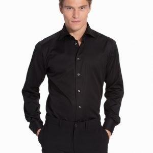 Eton Poplin Stretch Super Slim Shirt Kauluspaita Black