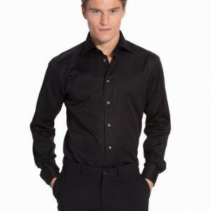 Eton Poplin Stretch Super Slim Shirt Kauluspaita Black
