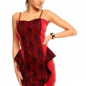 Fashion Moda punamusta peplum-pitsimekko