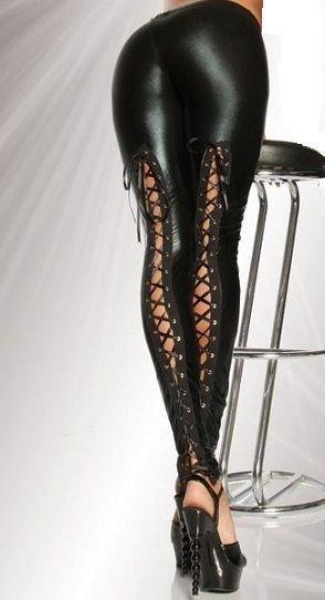 Faux Leather Leggings med snörning bak
