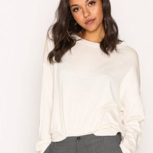 Filippa K Cropped Silk Mix Pullover Neulepusero Offwhite