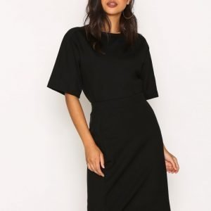 Filippa K High-Low Scuba Slit Skirt Midihame Black