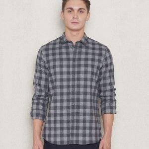 Filippa K Pierre Gingham Shirt Dark Grey Melange