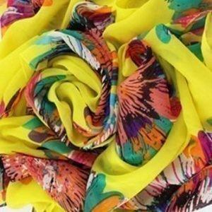 Flower keltainen printtihuivi
