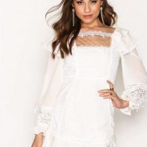 For Love & Lemons Crema Silk Linen Dress Kotelomekko White