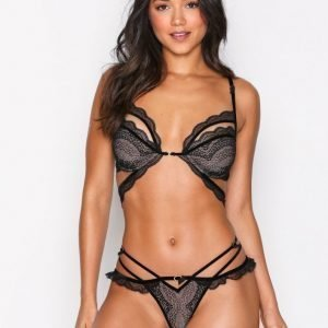 For Love & Lemons Evie Lace Thong Stringit Musta
