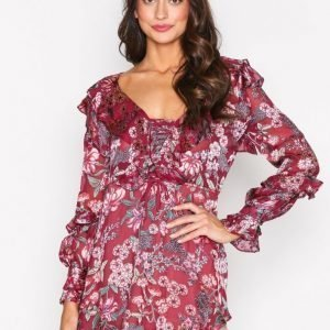 For Love & Lemons Flora Drawstring Mini Dress Loose Fit Mekko Berry