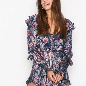 For Love & Lemons Flora Drawstring Mini Dress Loose Fit Mekko Navy