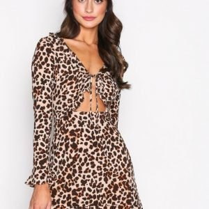 For Love & Lemons Leo Keyhole Mini Dress Mekko Cheetah