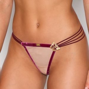 For Love & Lemons Papillon Velvet Thong Stringit Butterfly