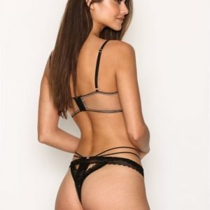 For Love & Lemons Vega Strappy Thong Stringit Black