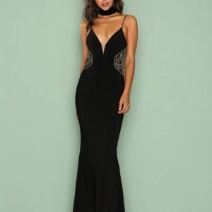 Forever Unique Myra Dress Maksimekko Black / Gold