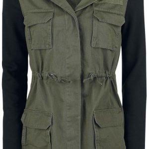 Forplay Contrast Sleeve Military Jacket Naisten Välikausitakki
