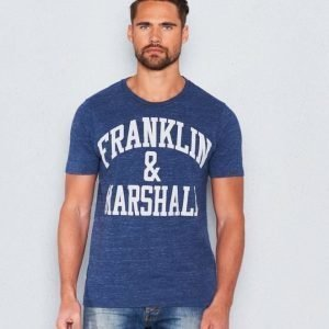 Franklin & Marshall Basic Logo Tee Blue Melange