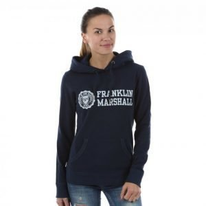 Franklin & Marshall Classic Logo Hoodie Vetoketjuhuppari Sininen