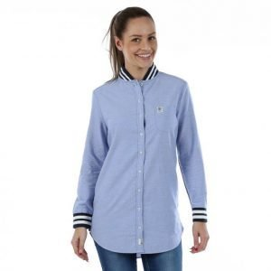 Franklin & Marshall Shirt Uni Long Pitkähihainen Kauluspaita Sininen