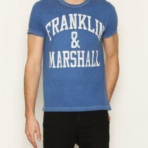 Franklin & Marshall T-shirt Jersey Round T-paita Punainen/Sininen
