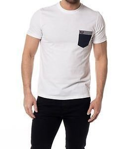 Fred Perry Gingham Trim Pocket T-Shirt White