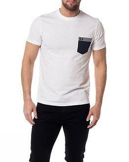 Fred Perry Gingham Trim Pocket T-Shirt White