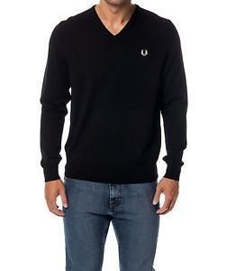 Fred Perry V-Neck Sweater Black