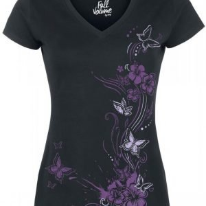 Full Volume By Emp Butterflies V Neck Naisten T-paita