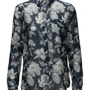 GANT O1. Monochrome Flower Print Voile pitkähihainen paita