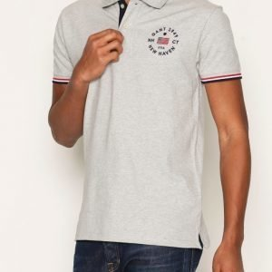 Gant American Flag Pique Rugger Pikeepaita Light Grey Melange