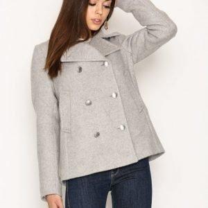 Gant Bonded Wool Pea Coat Pitkä Takki Light Grey Melange