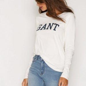 Gant Logo T-Shirt Ls Pitkähihainen Paita Munankuori