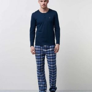 Gant Pajama Set Flannel W. Henley 405 Navy