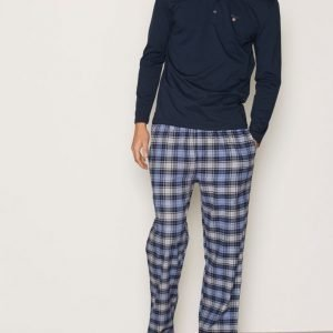 Gant Pajama Set Flannel W. Pyjamasetti Navy