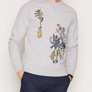 Gant Rugger R1. The Embroidered Crew Pusero Grey Melange