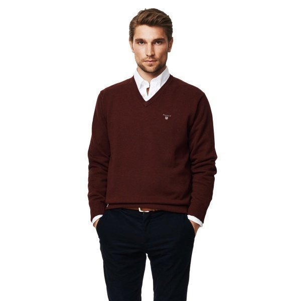 Gant Solid Cotton V Puuvillaneule