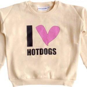 Gardner and the gang Pusero The classic sweater I love hotdogs Beige
