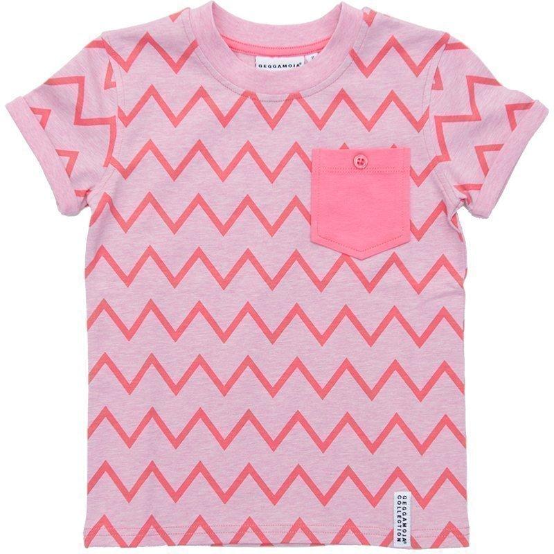 Geggamoja T-paita Zick Zack Pink/Cerise Grey