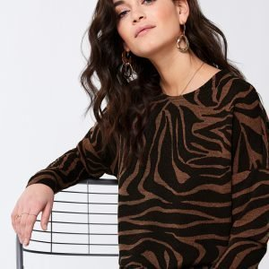 Gina Tricot Alma Top Toppi Brown Zebra