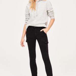 Gina Tricot Alva Cargo Jeans Farkut Offblack