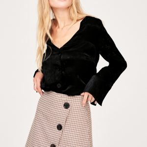 Gina Tricot Astrid Button Down Blouse Pusero Black