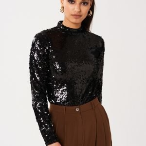Gina Tricot Belle Sequins Top Paljettitoppi Black
